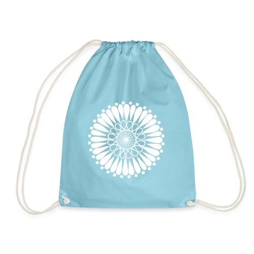 White Sunflower Mandala - Drawstring Bag