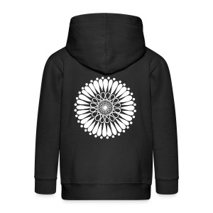 White Sunflower Mandala - Kids' Premium Zip Hoodie