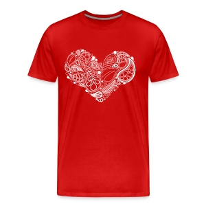 White Leaf Heart Mandala - Men's Premium T-Shirt