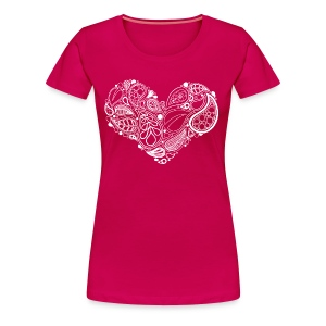 White Leaf Heart Mandala - Women's Premium T-Shirt