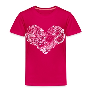 White Leaf Heart Mandala - Kids' Premium T-Shirt