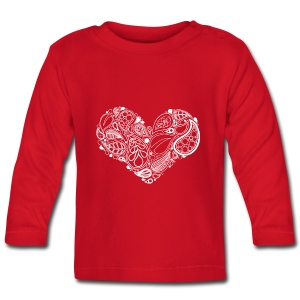 White Leaf Heart Mandala - Baby Long Sleeve T-Shirt