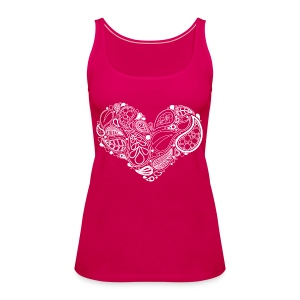White Leaf Heart Mandala - Women's Premium Tank Top