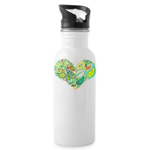 Green Leaf Heart Mandala - Water Bottle