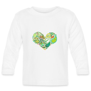 Green Leaf Heart Mandala - Baby Long Sleeve T-Shirt