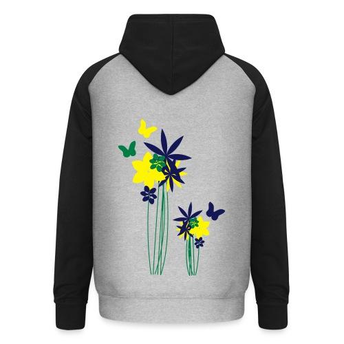 Blumenwiese mit Schmetterlingen | Gartenmotiv - Unisex Baseball Hoodie