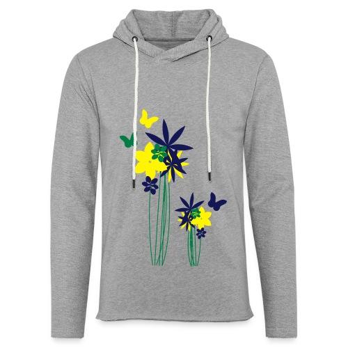 Blumenwiese mit Schmetterlingen | Gartenmotiv - Leichtes Kapuzensweatshirt Unisex