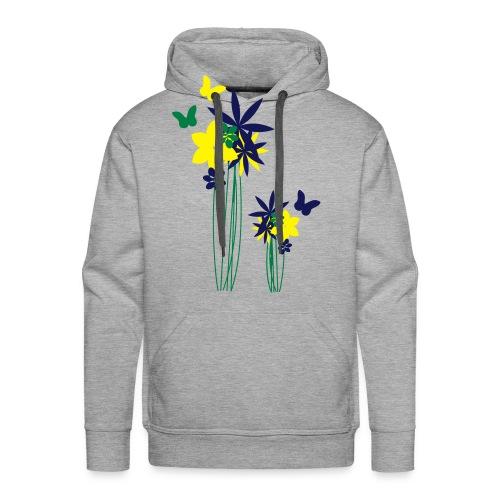 Blumenwiese mit Schmetterlingen | Gartenmotiv - Männer Premium Hoodie
