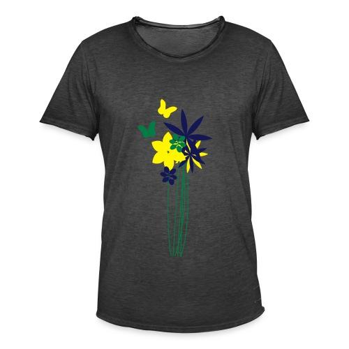 Blumenwiese mit Schmetterlingen | Gartenmotiv - Männer Vintage T-Shirt