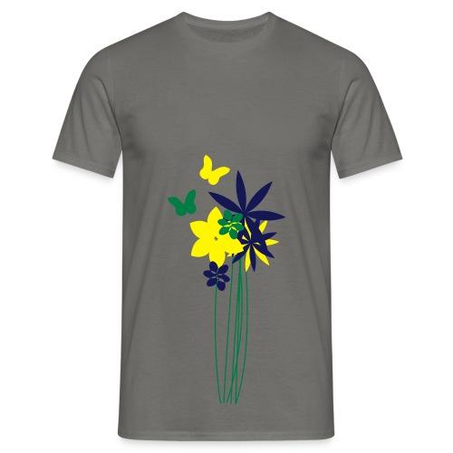 Blumenwiese mit Schmetterlingen | Gartenmotiv - Männer T-Shirt