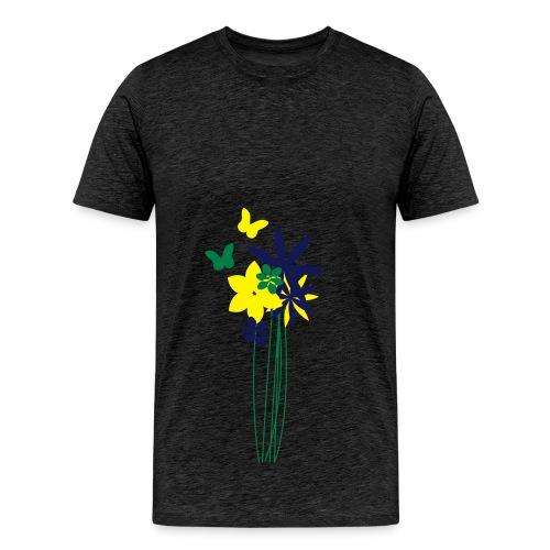 Blumenwiese mit Schmetterlingen | Gartenmotiv - Männer Premium T-Shirt