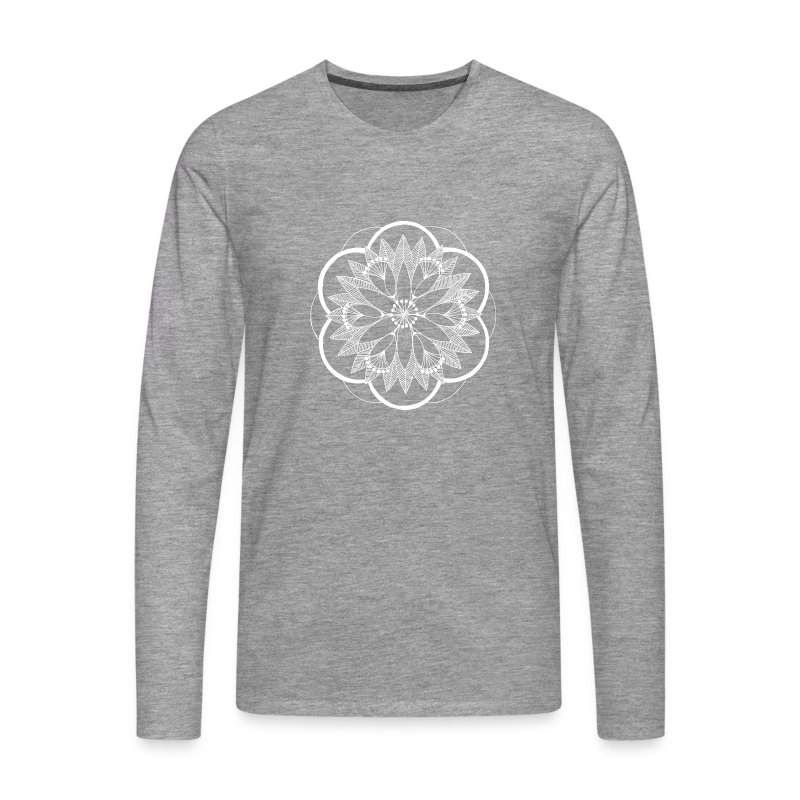 White Pond Bouquet Mandala - Men's Premium Longsleeve Shirt