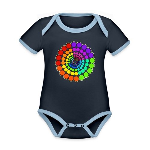 Rainbow Spectrum Mandala - Organic Baby Contrasting Bodysuit
