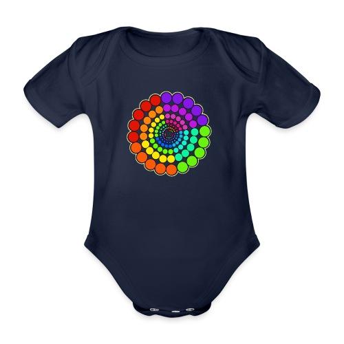 Rainbow Spectrum Mandala - Organic Short-sleeved Baby Bodysuit