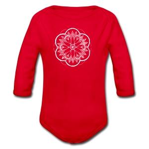 White Pond Bouquet Mandala - Organic Longsleeve Baby Bodysuit