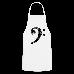 Bassschlüssel (Vintage Schwarz) Bass T-Shirt - Kochschürze