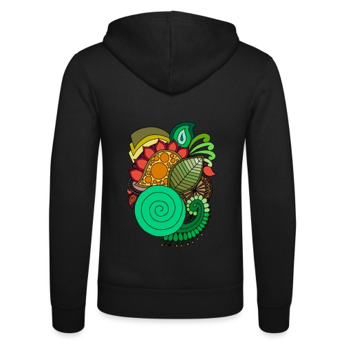 Coloured Leaf Mandala - Unisex Hooded Jacket by Bella + Canvas