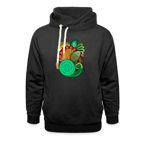 Coloured Leaf Mandala - Shawl Collar Hoodie