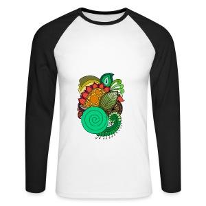 Coloured Leaf Mandala - Men's Long Sleeve Baseball T-Shirt