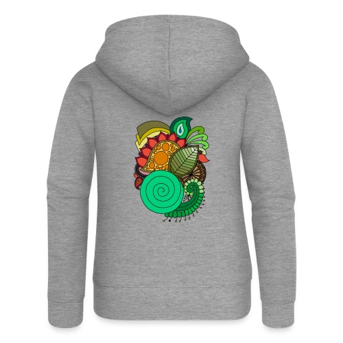 Coloured Leaf Mandala - Women's Premium Hooded Jacket