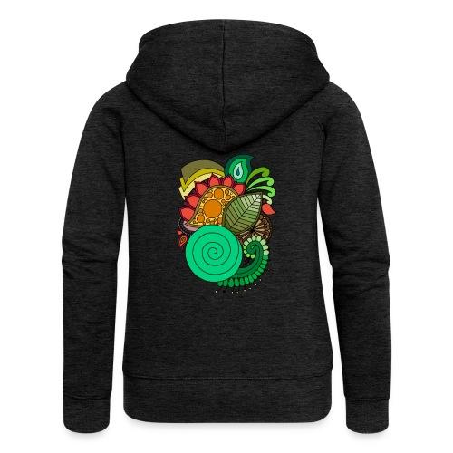 Coloured Leaf Mandala - Women's Premium Hooded Jacket