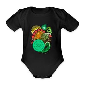 Coloured Leaf Mandala - Organic Short-sleeved Baby Bodysuit