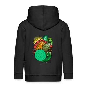 Coloured Leaf Mandala - Kids' Premium Zip Hoodie