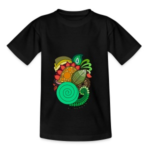 Coloured Leaf Mandala - Teenage T-shirt