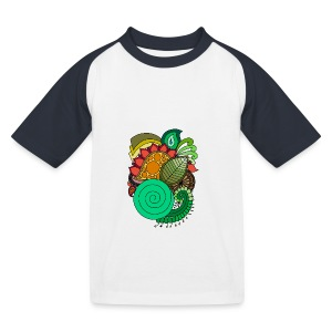 Coloured Leaf Mandala - Kids' Baseball T-Shirt