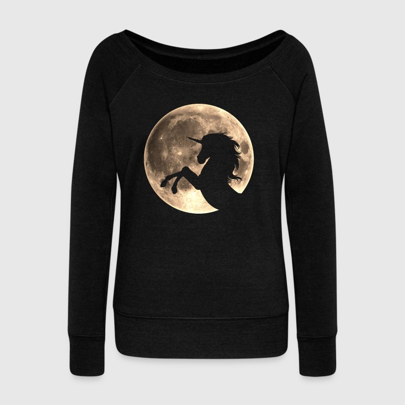 Unicorn, moon, fullmoon, fantasy, magic, space Hoo - Women's Boat Neck Long Sleeve Top