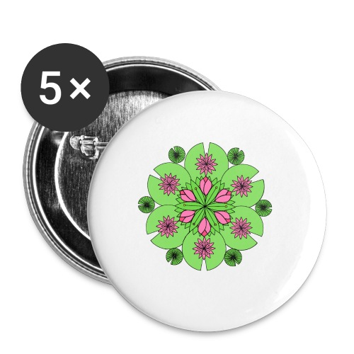 Pond Lotus Mandala - Buttons large 2.2''/56 mm(5-pack)