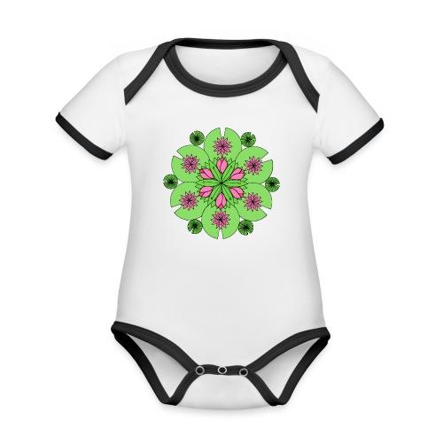 Pond Lotus Mandala - Organic Baby Contrasting Bodysuit