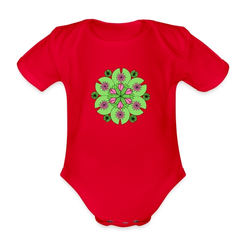 Pond Lotus Mandala - Organic Short-sleeved Baby Bodysuit