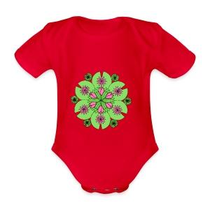 Pond Lotus Mandala - Organic Short-sleeved Baby Bodysuit