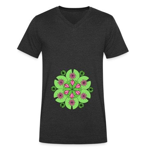 Pond Lotus Mandala - Men's Organic V-Neck T-Shirt by Stanley & Stella
