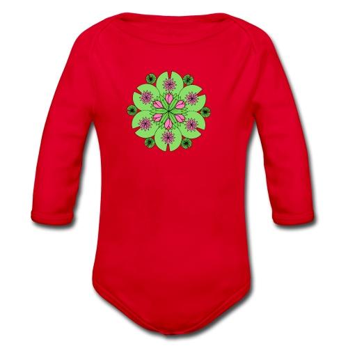 Pond Lotus Mandala - Organic Longsleeve Baby Bodysuit