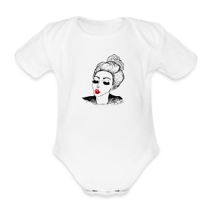 Kissing vintage girl retro look - Organic Short-sleeved Baby Bodysuit