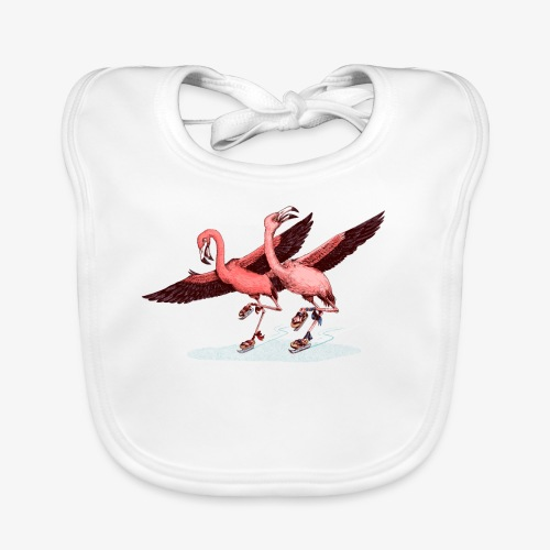Flamingo Ice  Skaters - Baby Organic Bib