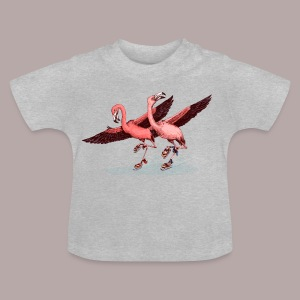 Flamingo Ice  Skaters - Baby T-Shirt