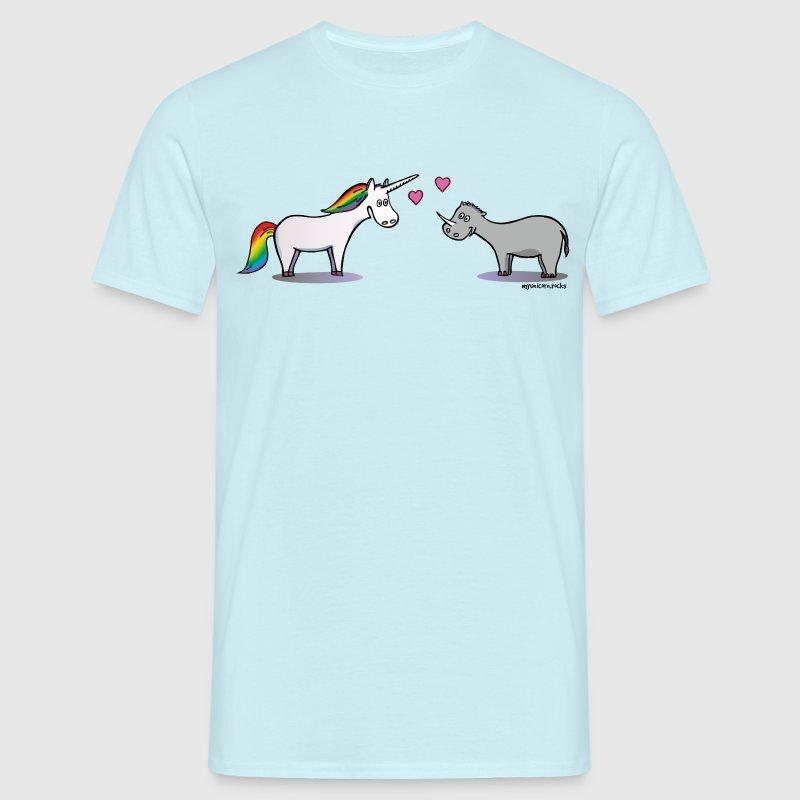 Einhorn und Nashorn verliebt - Unicorn & Rhino T-Shirts - Männer T-Shirt