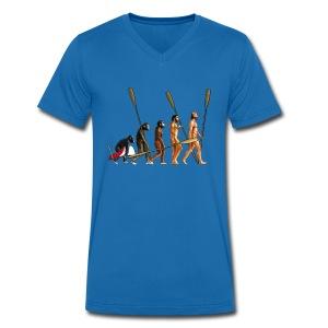 Evolution of The Rower - Men's Organic V-Neck T-Shirt by Stanley & Stella