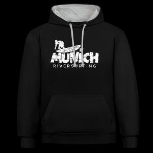 Munich Riversurfing (Vintage/Weiß) T-Shirt - Kontrast-Hoodie