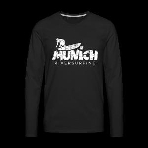 Munich Riversurfing (Vintage/Weiß) T-Shirt - Männer Premium Langarmshirt