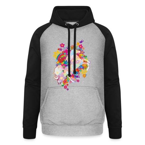 Flower Power Regenbogen Einhorn - Unisex Baseball Hoodie