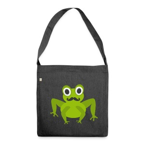 Frosch mit Bart - Moustache Frog - Schultertasche aus Recycling-Material