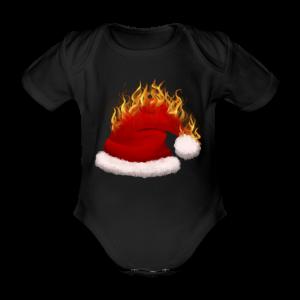 Brændende Nissehue - Kortærmet babybody, økologisk bomuld