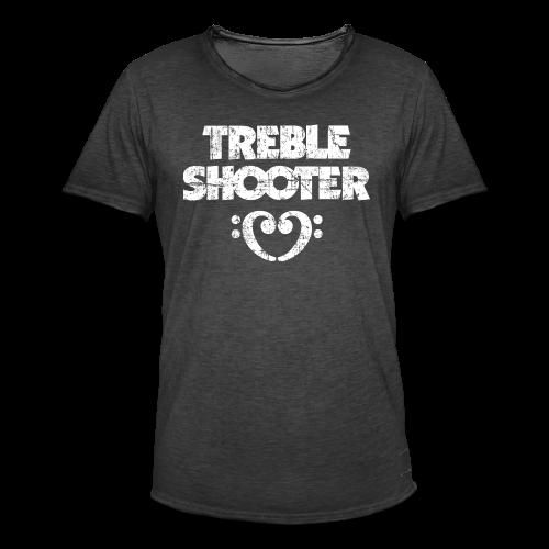 Treble Shooter Bass mit Herz (Vintage/Weiß) S-5XL T-Shirt - Männer Vintage T-Shirt