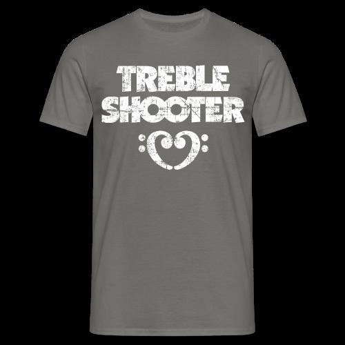 Treble Shooter Bass mit Herz (Vintage/Weiß) S-5XL T-Shirt - Männer T-Shirt