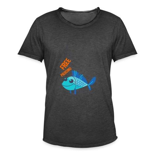 Lächelnder Fisch - FREE PIERCING - Männer Vintage T-Shirt