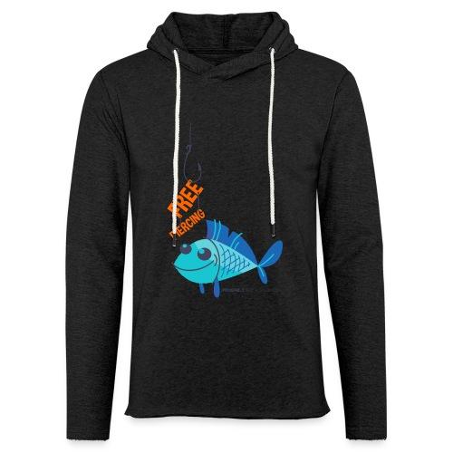 Lächelnder Fisch - FREE PIERCING - Leichtes Kapuzensweatshirt Unisex